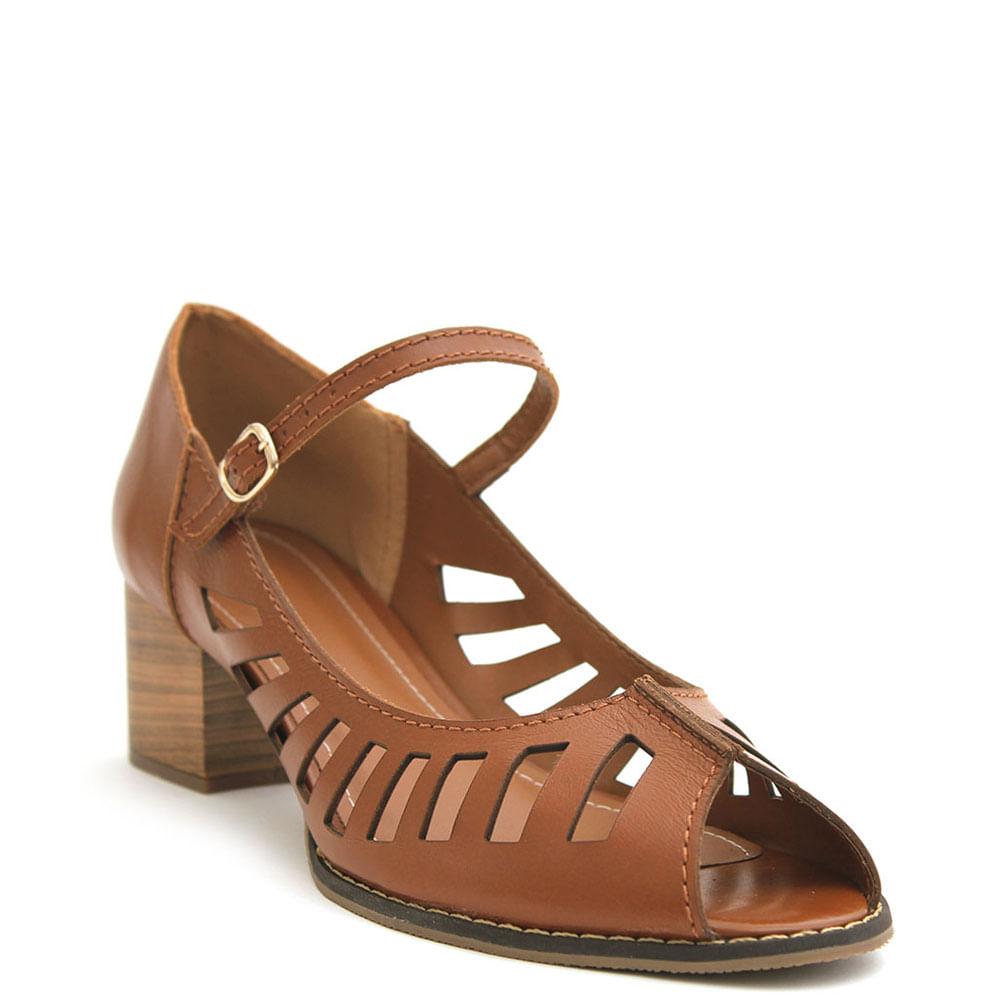 3ce1fd264 Peep toe c/ recortes Caramelo - eurico